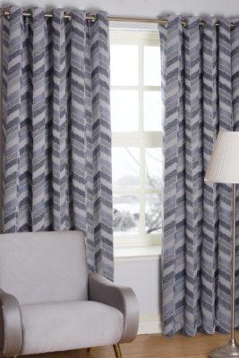 SLX Readymade Curtain – Zig Zag Indigo